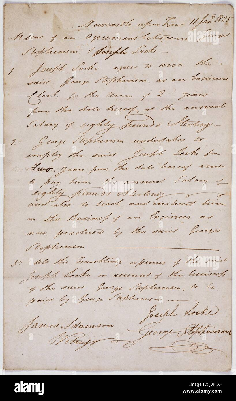 Memorandum Of Agreement For The Employment Of Joseph Locke As A