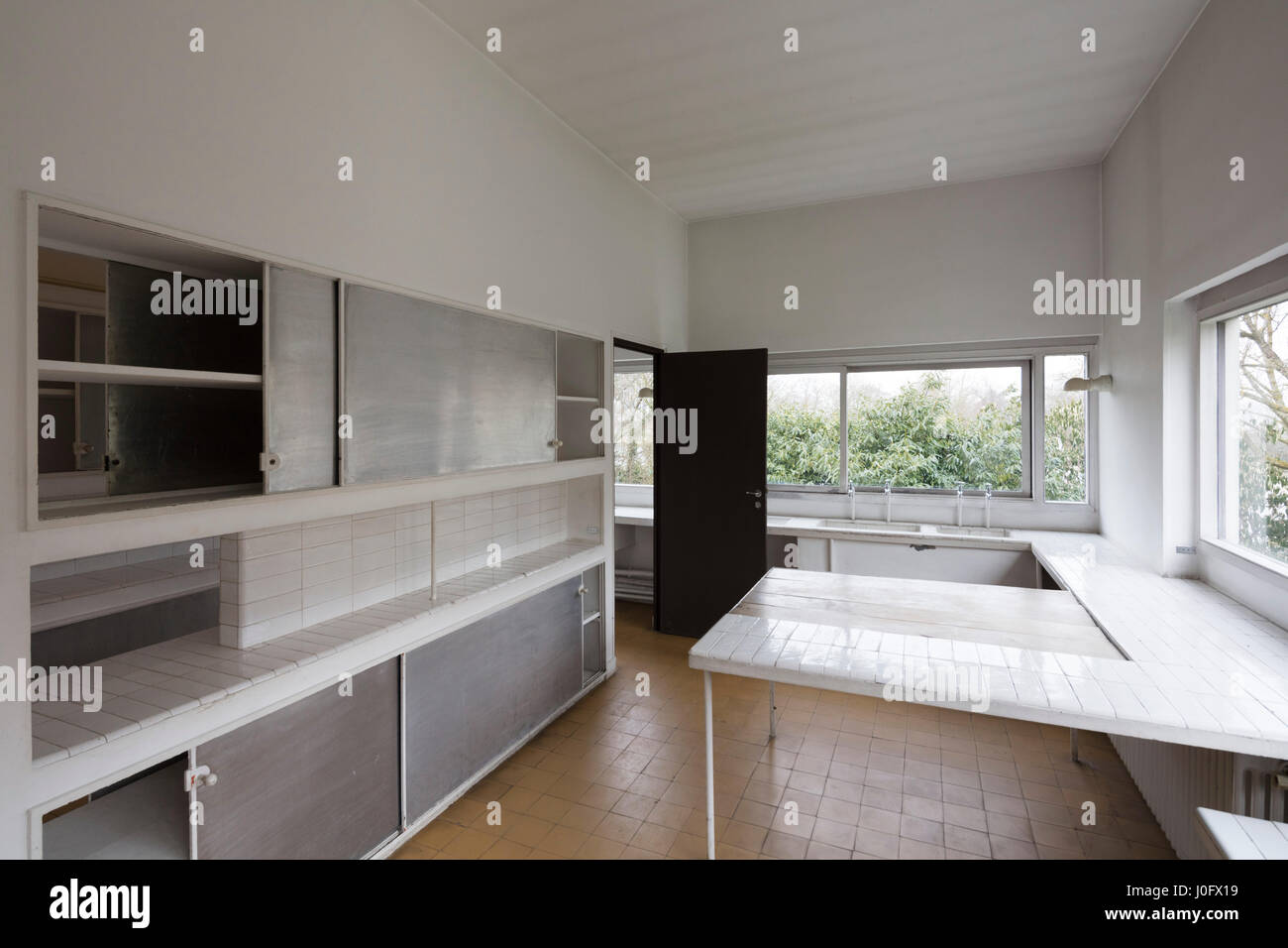 kitchen, Villa Savoye at Poissy, France, modernist ...Villa Savoye Kitchen