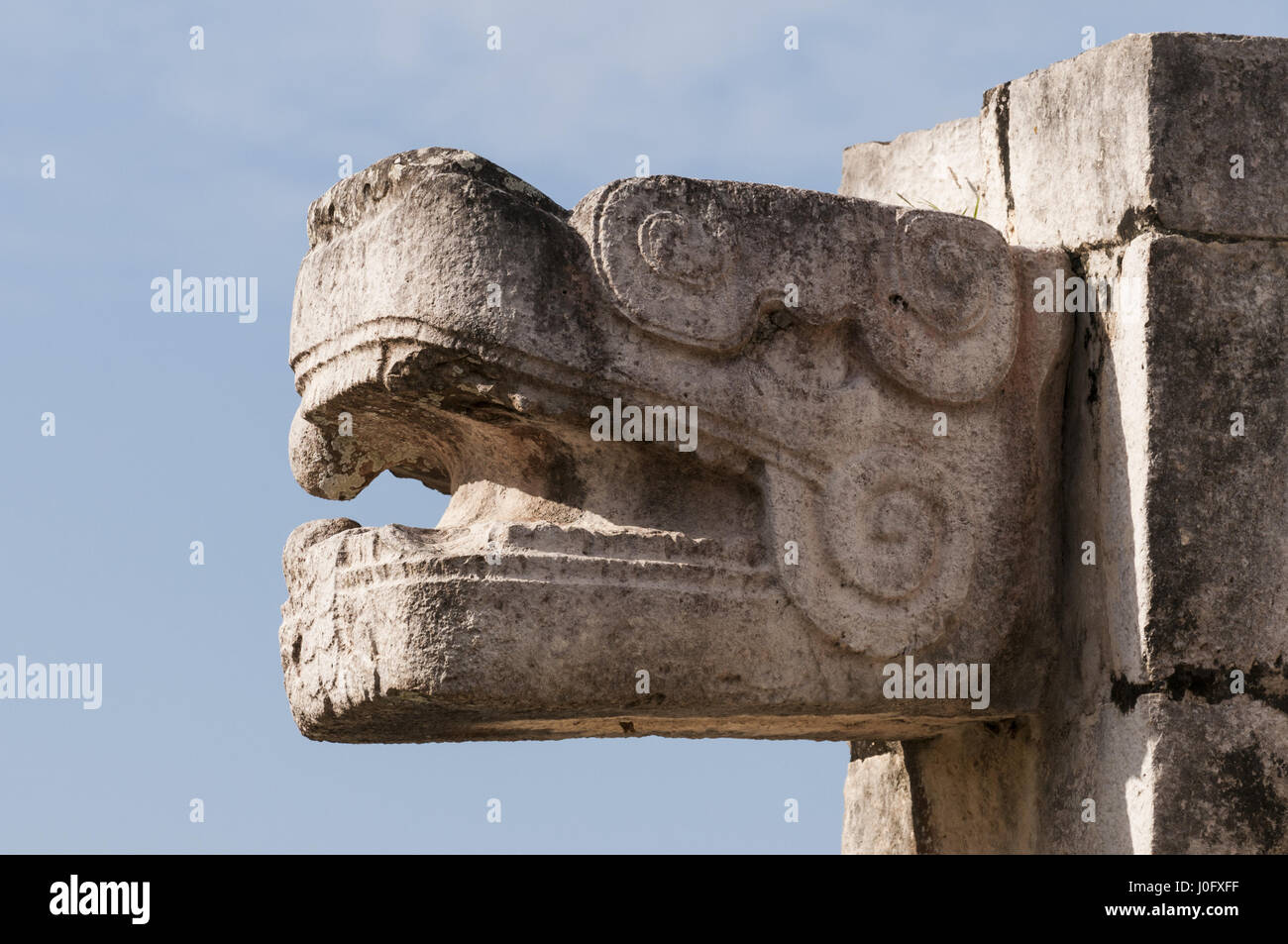 Mexico, Yucatan, Chichen Itza Mayan site, Platform of Eagles and Jaguars - Stock Image