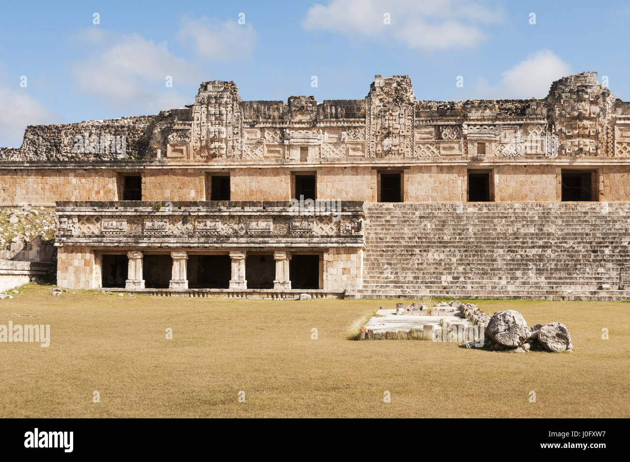 Mexico, Yucatan, Uxmal Mayan site, Nuns' Quadrangle, North Temple - Stock Image