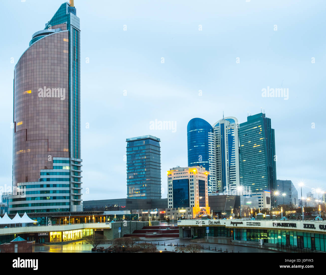 Residential houses and business centers in Astana. A photograph in the capital of Kazakhstan. - Stock Image