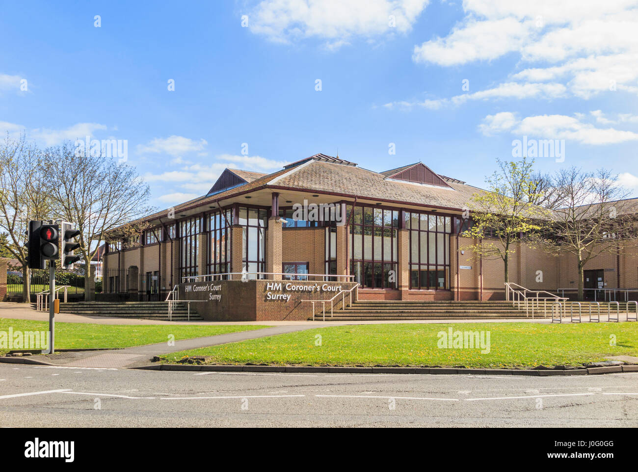HM Coroners Court, Woking, Surrey, where inquests are held, a legal inquiry into the medical cause and circumstances - Stock Image