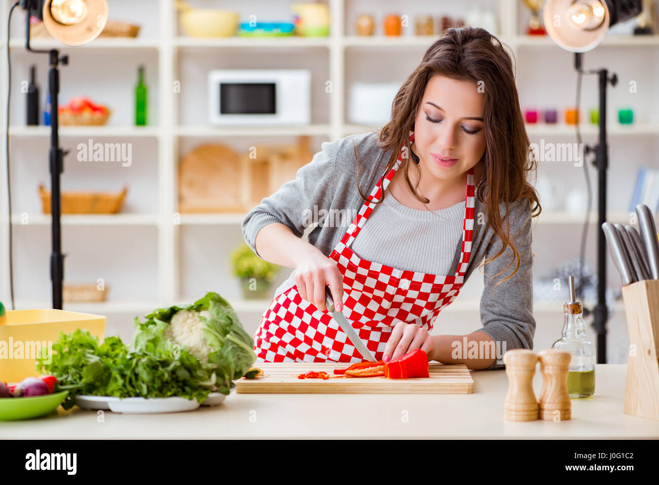 Food Cooking Tv Show In The Studio Stock Photo Alamy