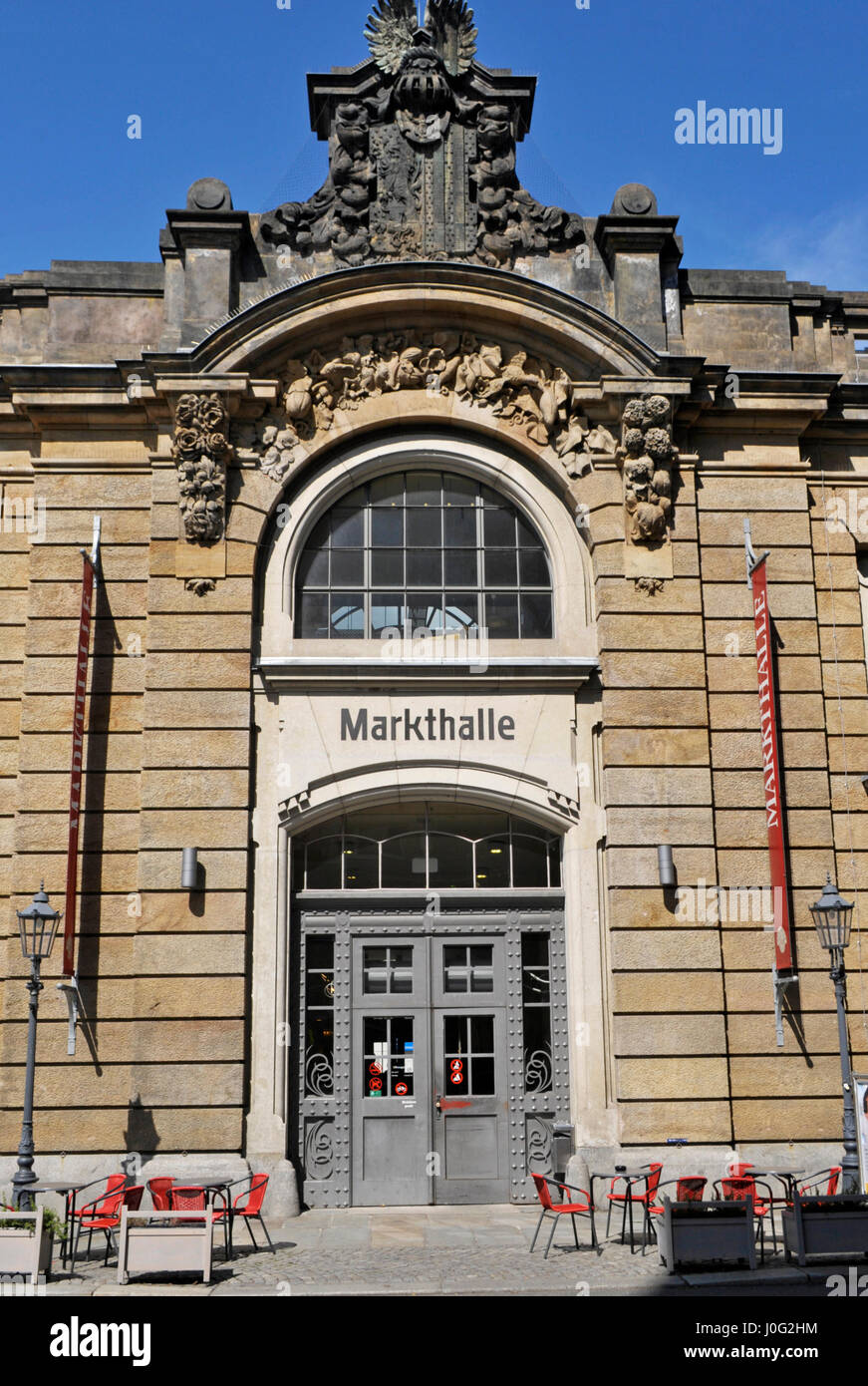 Markthalle building, indoor market in Neustadt, Dresden, Saxony, Germany, - Stock Image
