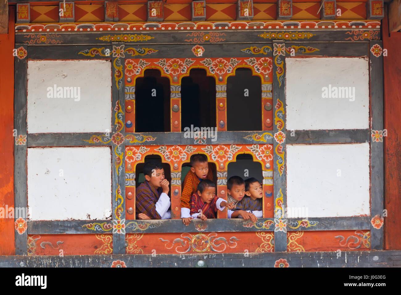Tshechu Festival at Wangdue Phodrang Dzong Wangdi Bhutan - Stock Image