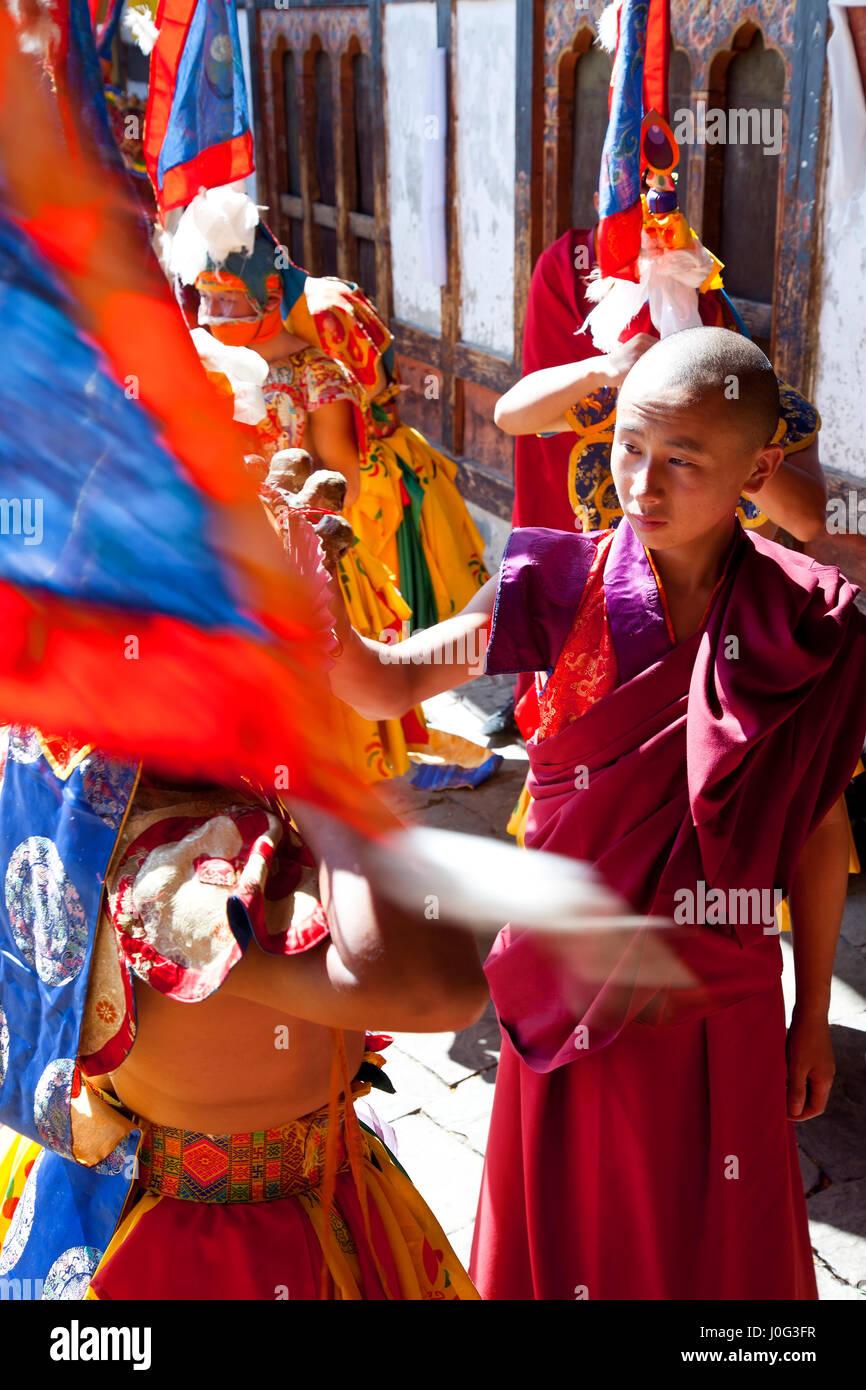 Tamshing Phala Chhoupa festival, Tamshing Monastery, nr Jakar, Bumthang, Bhutan - Stock Image