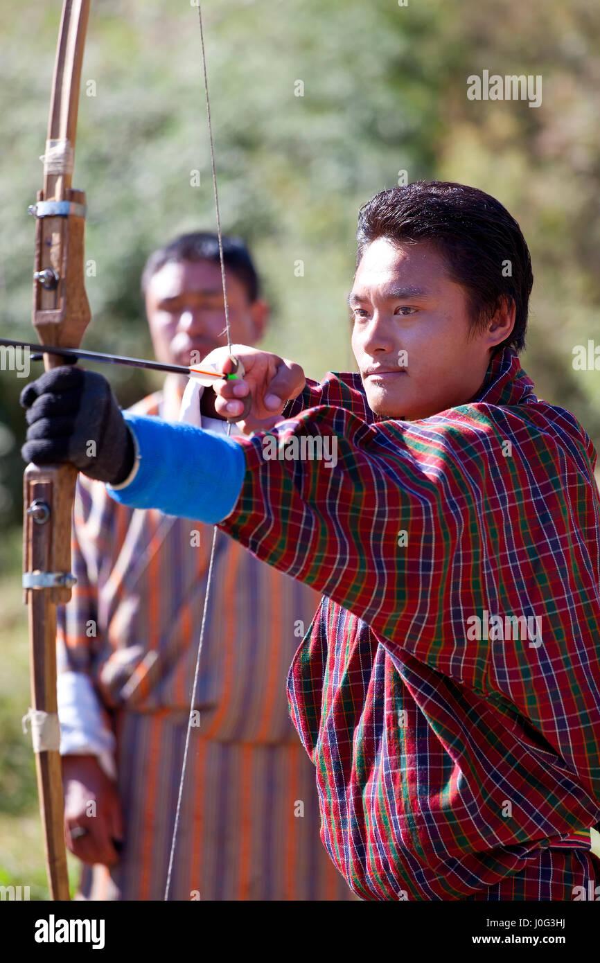 Archery, Bumthang Valley, Bhutan - Stock Image