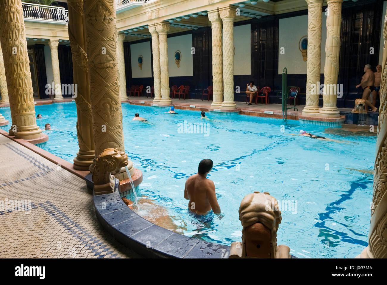 Hungary, Budapest, Gellert Hill, Gellert Baths, indoor pool ...
