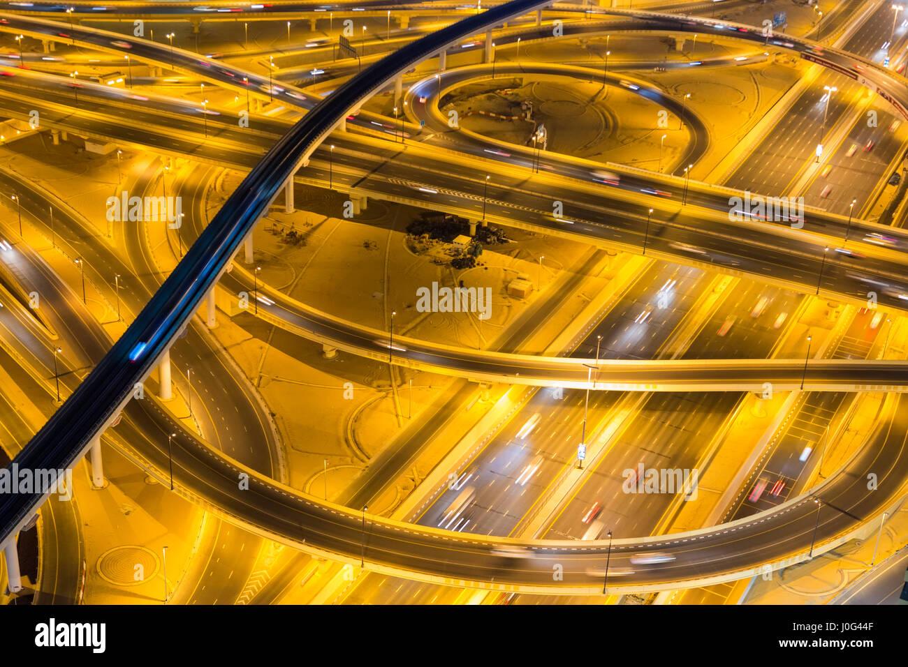 Roundabout and junction, Sheikh Zayed Road, Downtown Dubai, Dubai, United Arab Emirates, UAE - Stock Image