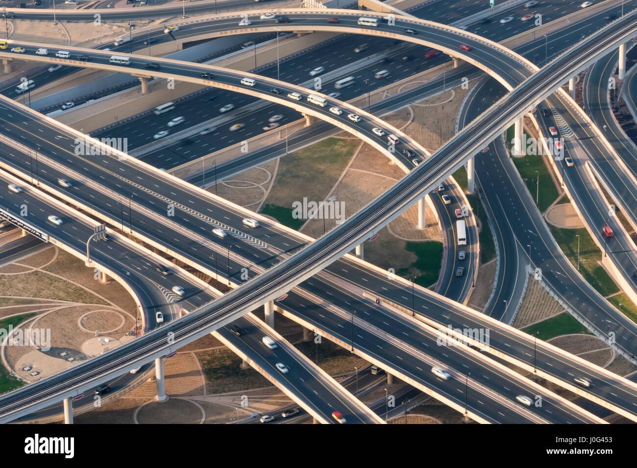 Flyover & freeway interchange, Dubai, United Arab Emirates, U.A.E. - Stock Image