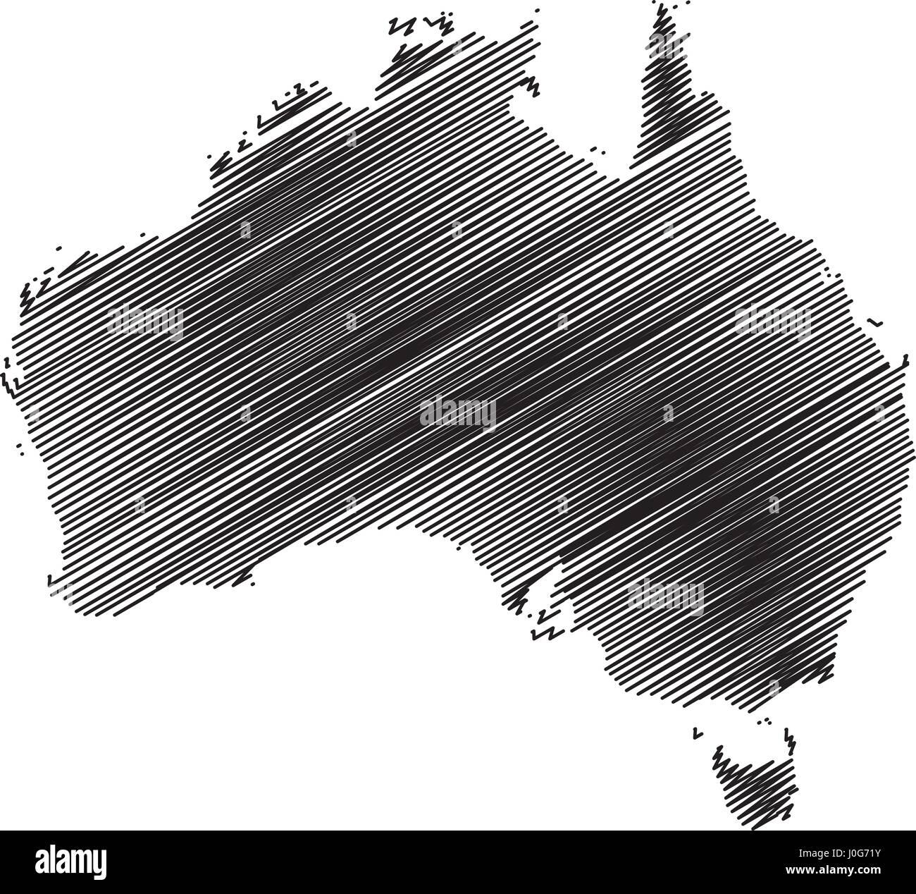Australia map vector illustration, scribble sketch Australia - Stock Vector