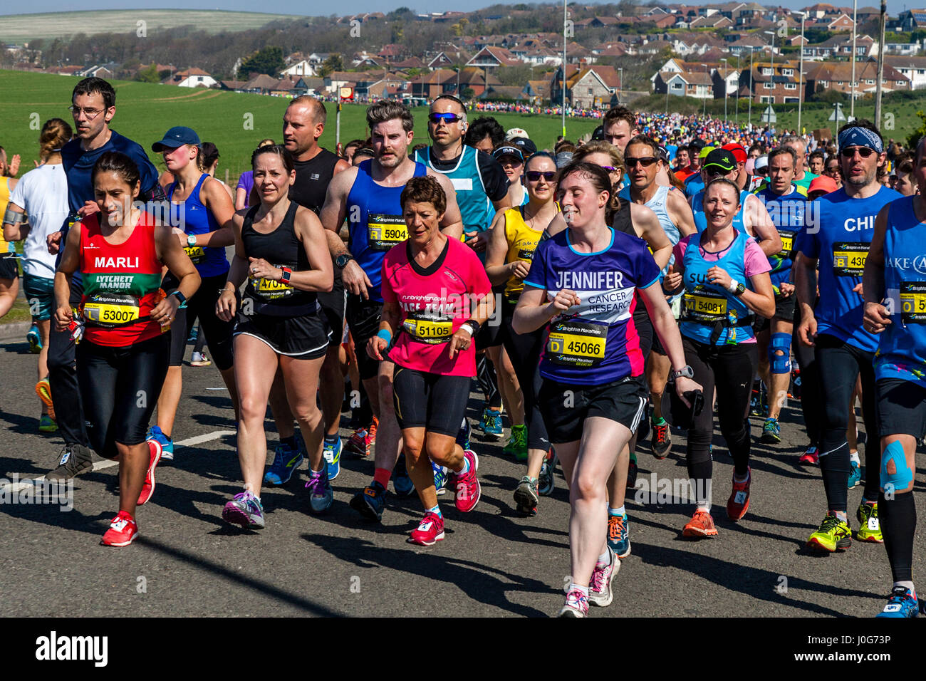Athletes Taking Part In The Brighton Marathon, Brighton, Sussex, UK - Stock Image