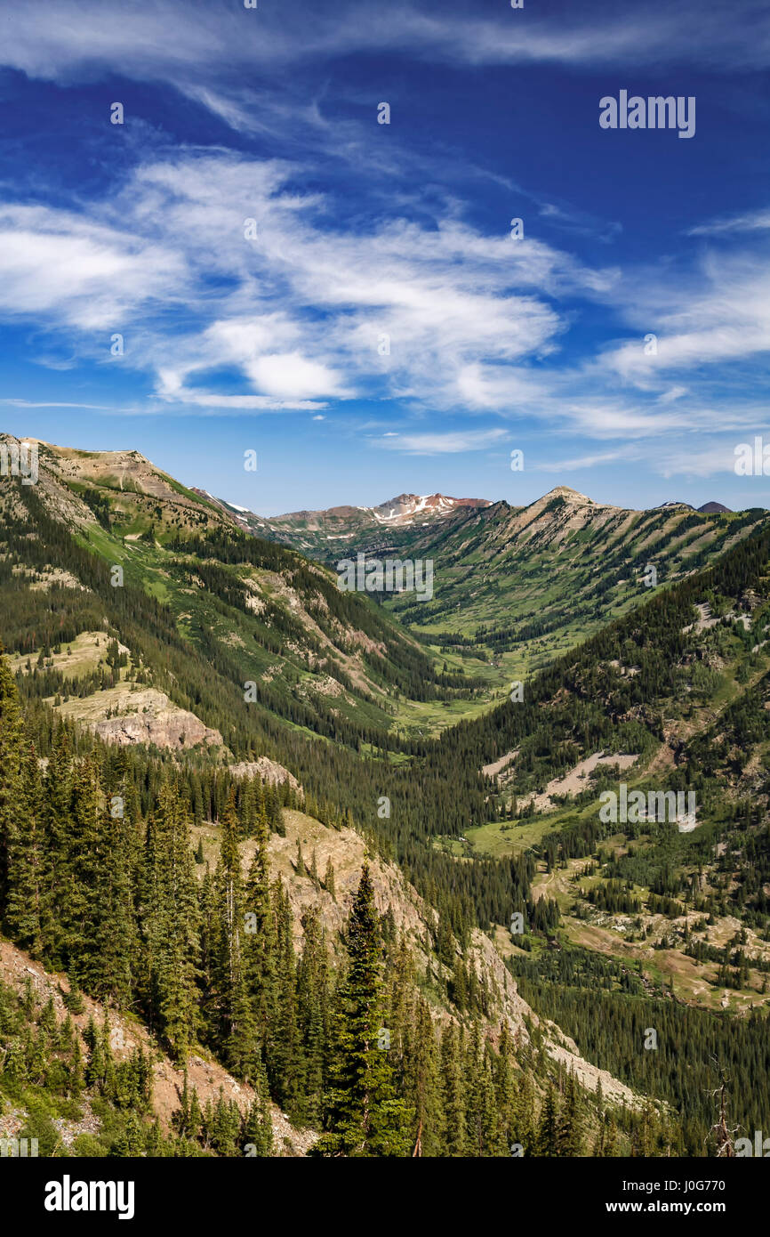 View of Oh-Be-Joyful Creek drainage from Gunsight Pass Road, Gunnison National Forest, near Crested Butte, Colorado - Stock Image