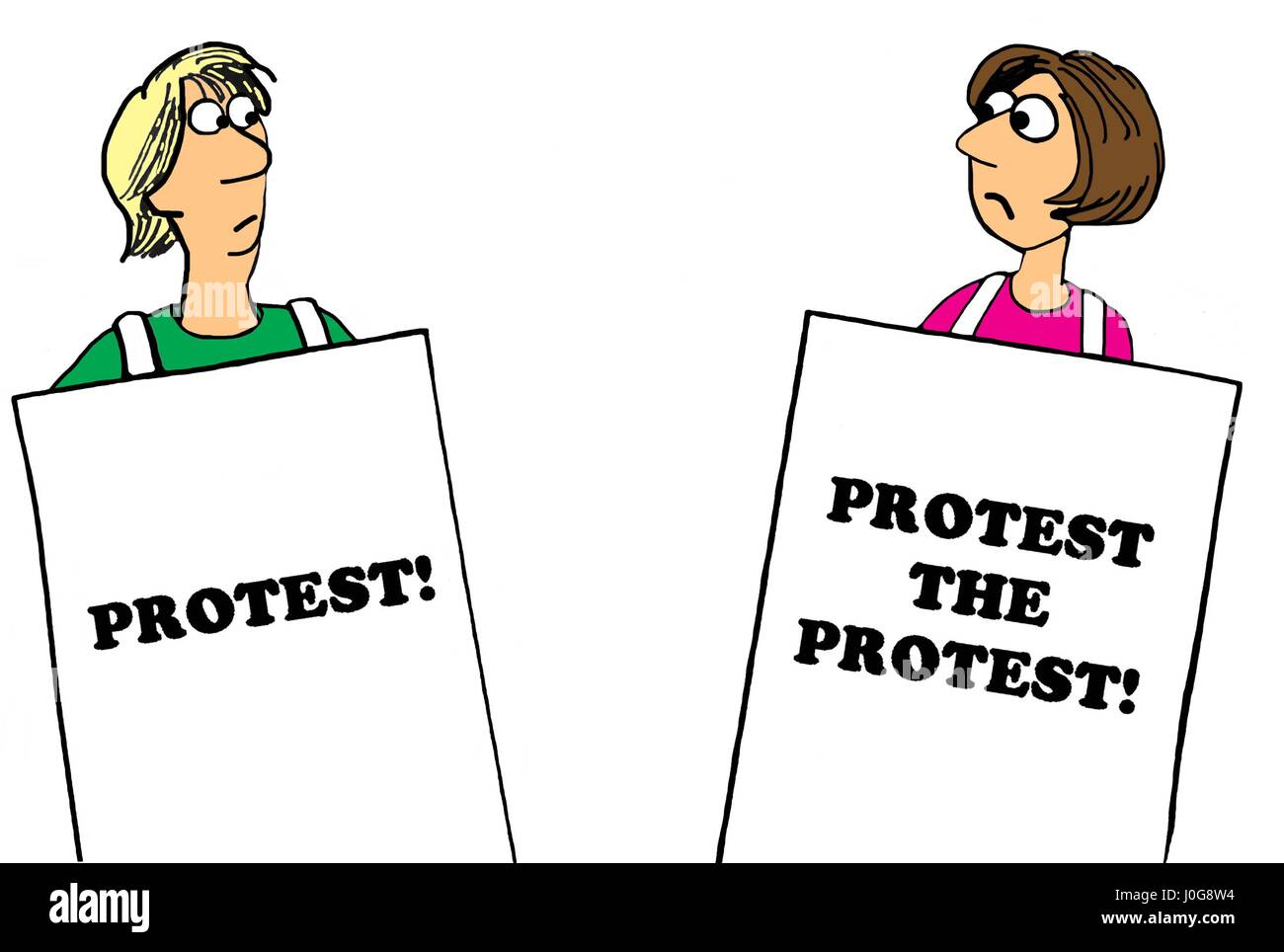 Political cartoon about a woman protesting the protest Stock Photo - Alamy