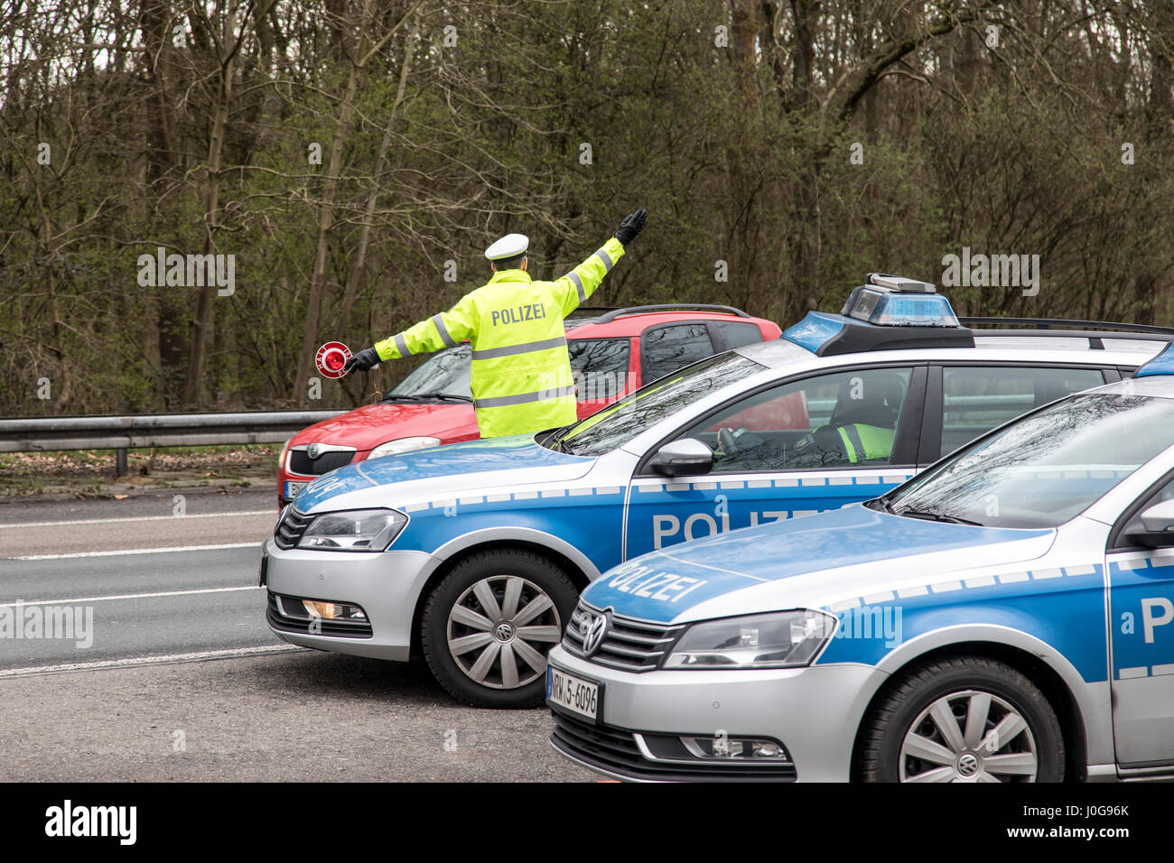 Police control of trucks, on the Autobahn A555 in Cologne, Germany, together with the customs, BAG and the TÜV, - Stock Image