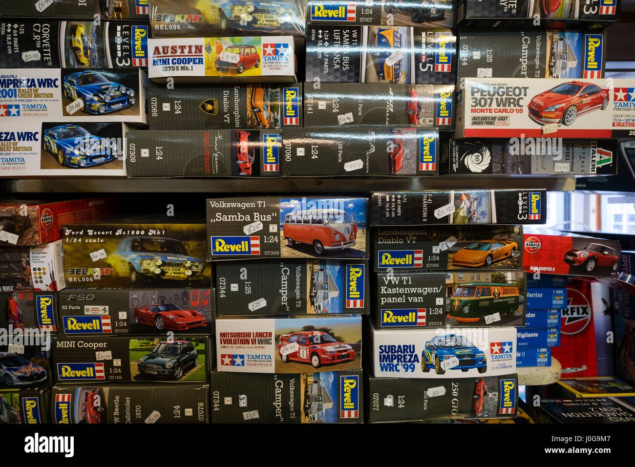 Boxes of Revell self-assembly model cars stacked up on shelves  on sale in   'The Albatross' traditional - Stock Image