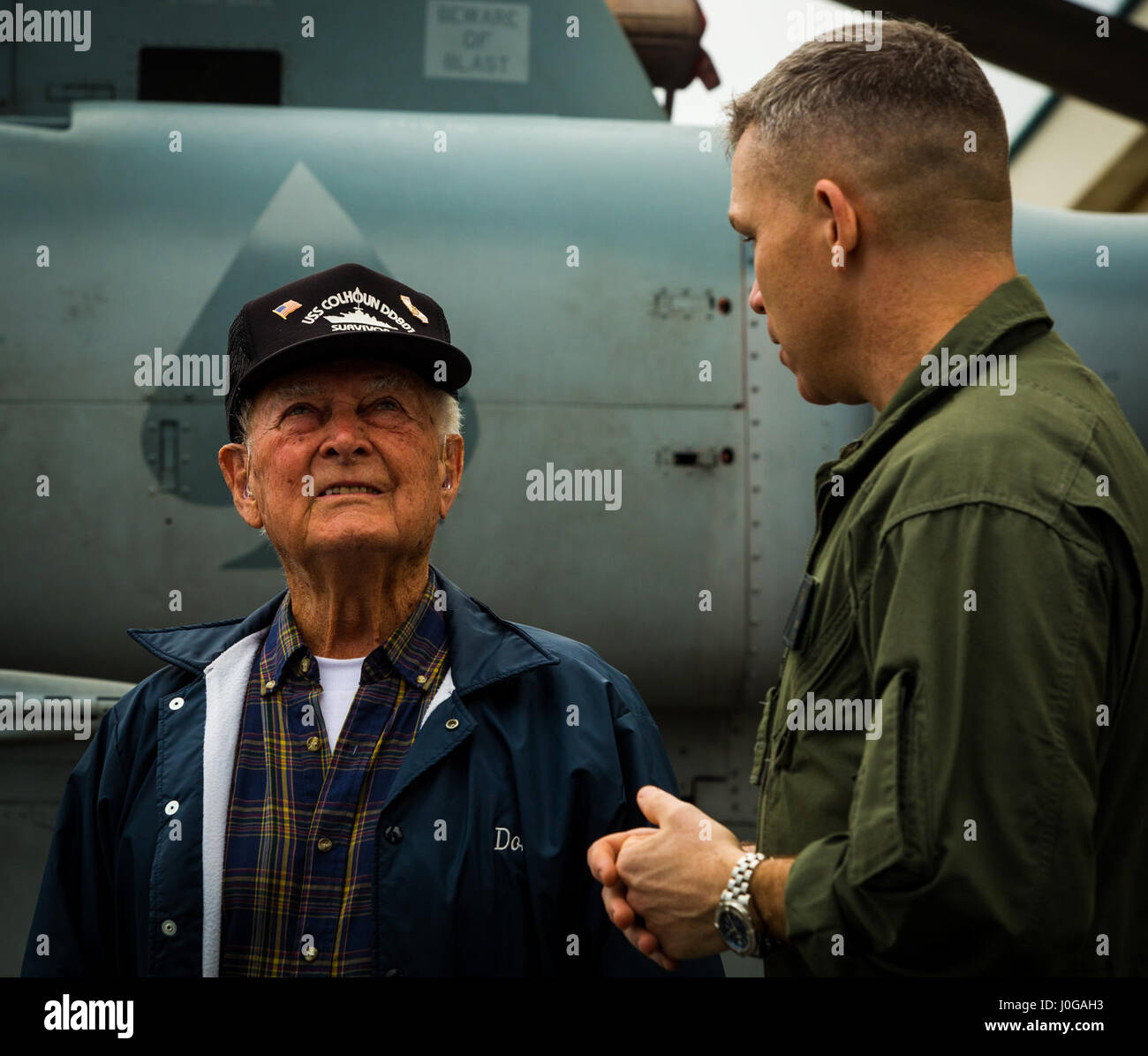 bryan g swenson gives donald irwin a united states navy world war ii veteran a tour of the mv 22 osprey april 7 2017 on marine corps air station
