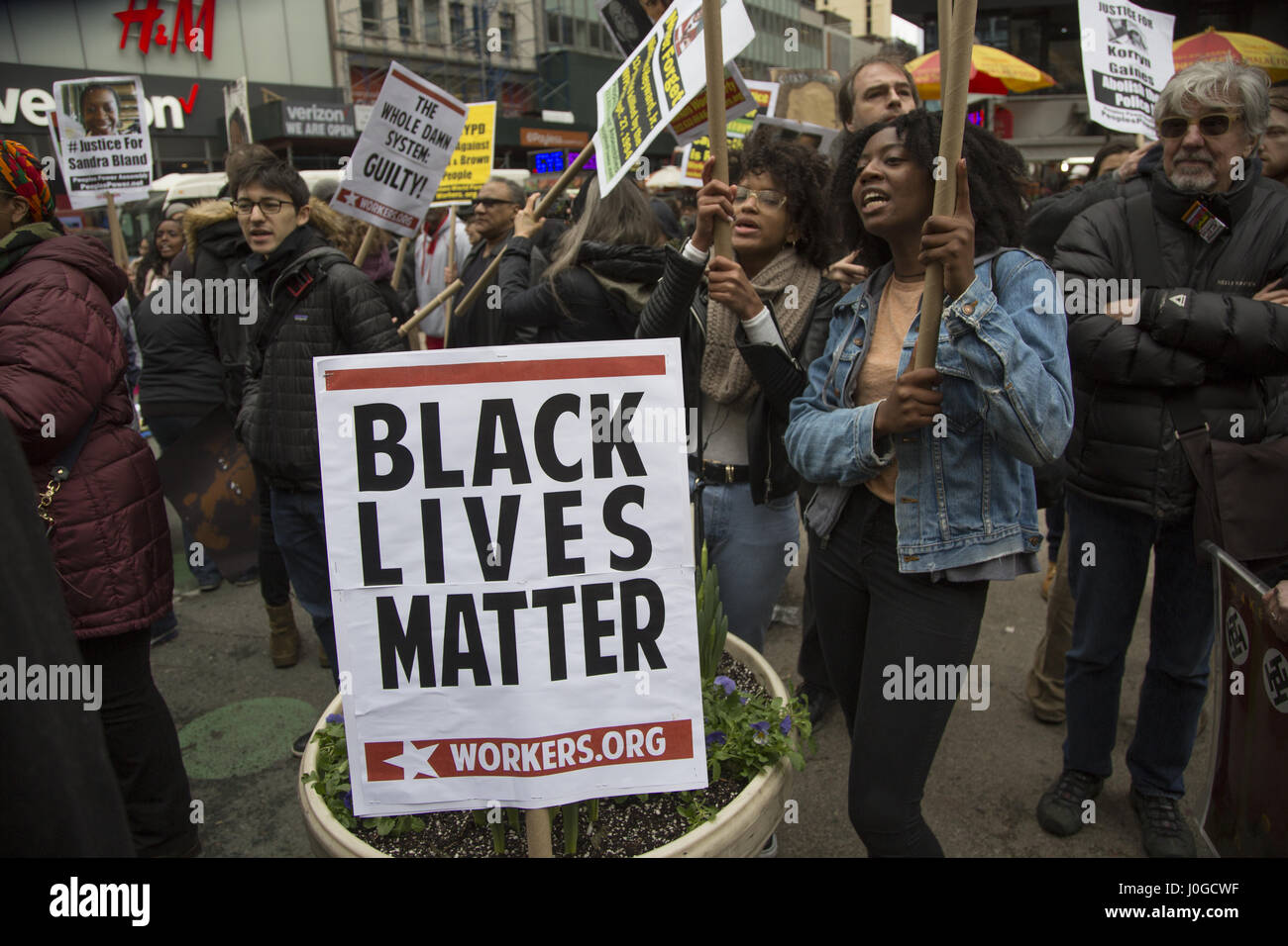 Black Lives Matter; and other activist groups demonstrate and march in midtown Manhattan to keep up pressure for - Stock Image