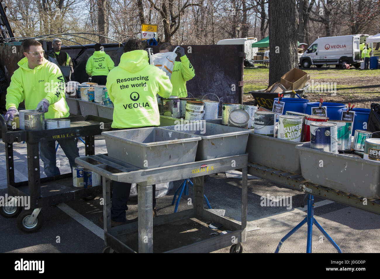 New York City hosts a Safe Disposal Event in Prospect Park where people can drop off old electronics, paints, chemicals - Stock Image