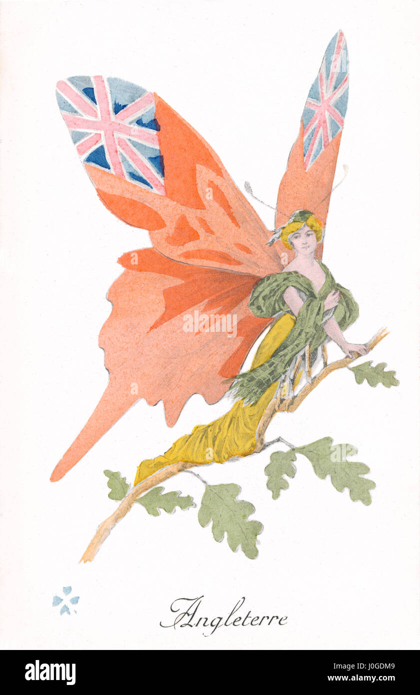 French First World War postcard depicting England as a butterfly. One of a series of postcards, published by Impressions - Stock Image
