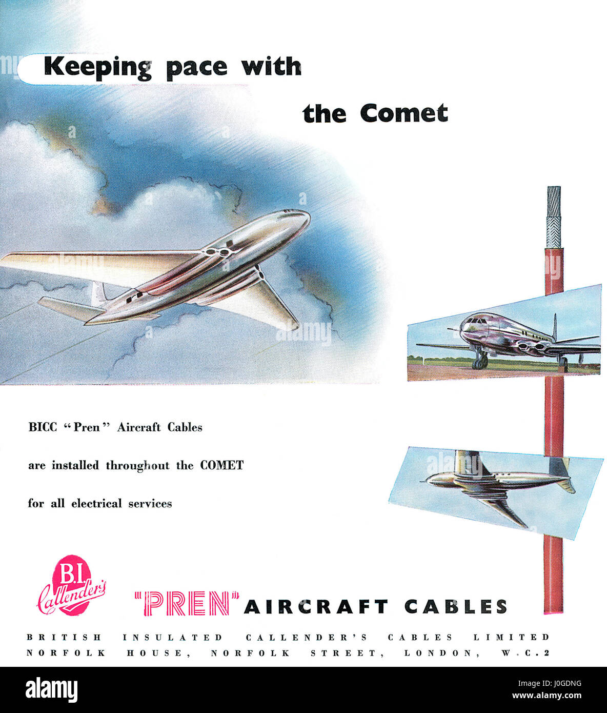1950 British advertisement for Pren Aircraft Cables by B.I. Calender's Cables Limited, as used in the de Havilland - Stock Image