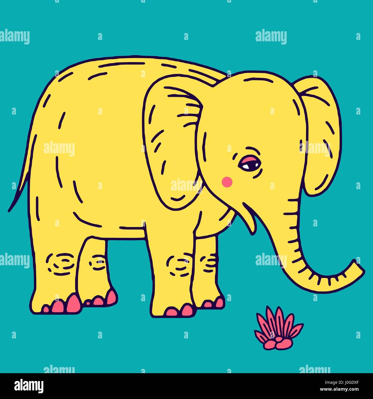 Cute elephant cartoon sitting - Stock Vector