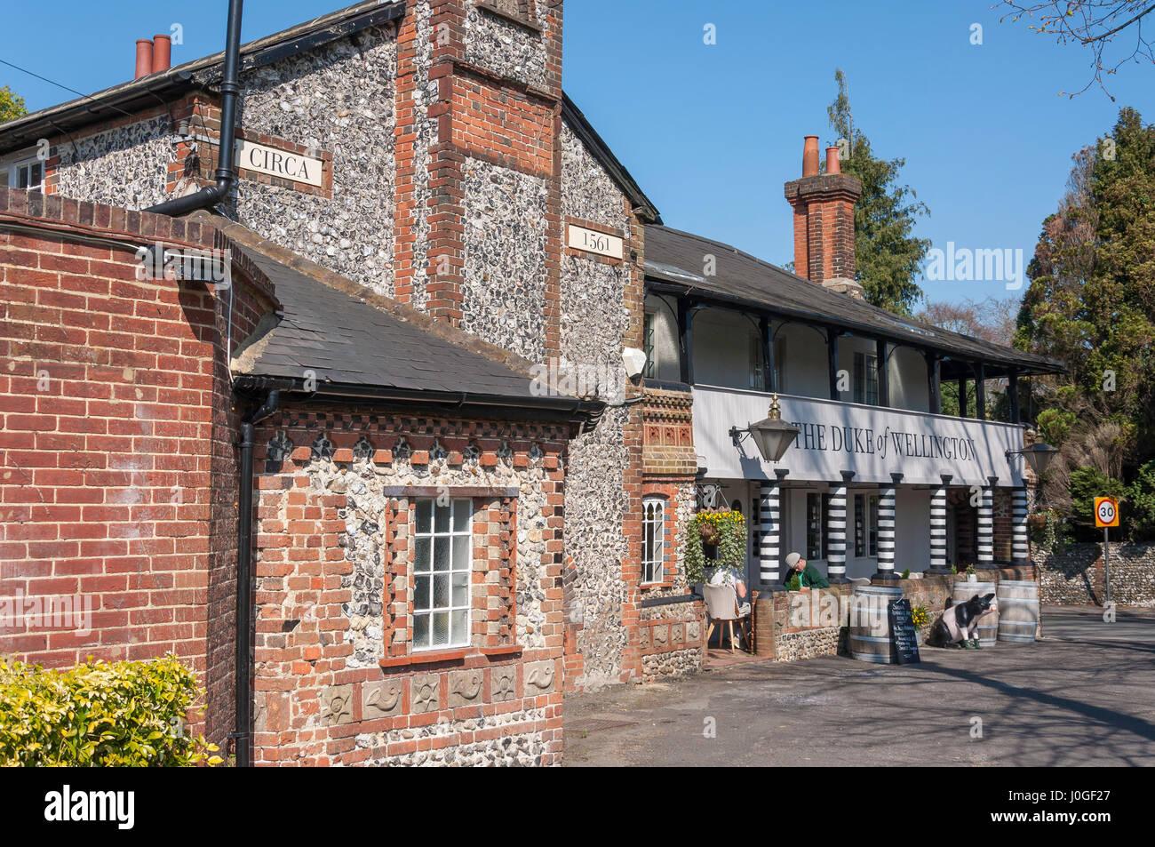 16th century The Duke of Wellington Pub, Guildford Road, East Horsley, Surrey, England, United Kingdom - Stock Image
