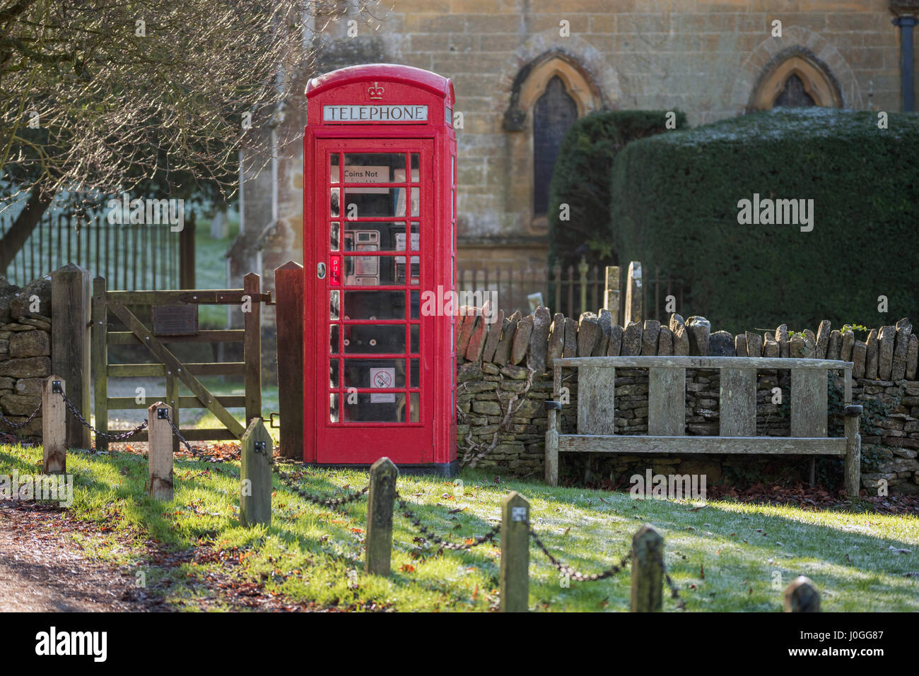 K6 telephone kiosk at Snowshill in Gloucestershire, England - Stock Image