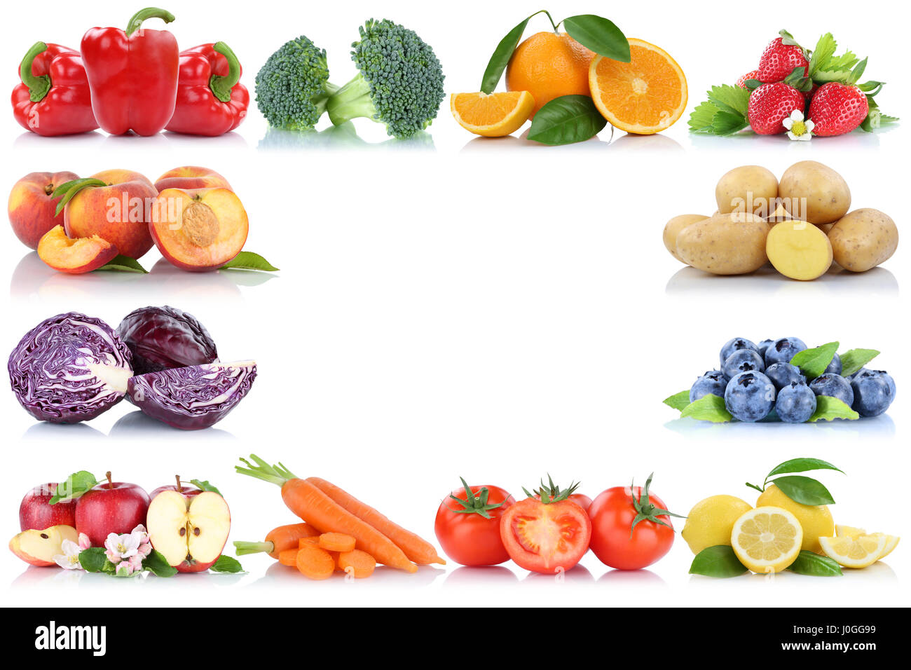 Fruits and vegetables copyspace frame border copy space apple orange peach berries fresh fruit Stock Photo