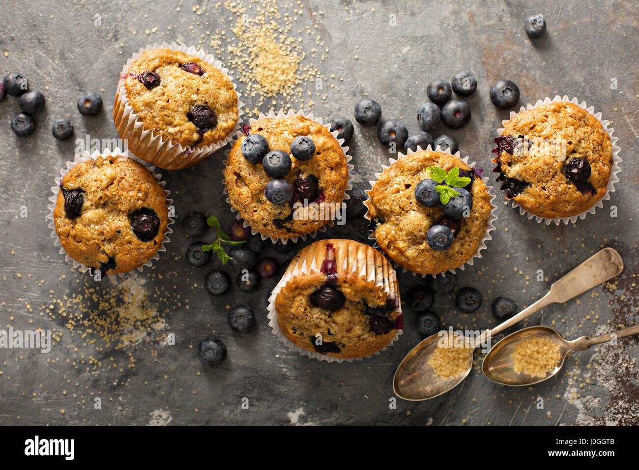 Vegan banana blueberry muffins Stock Photo