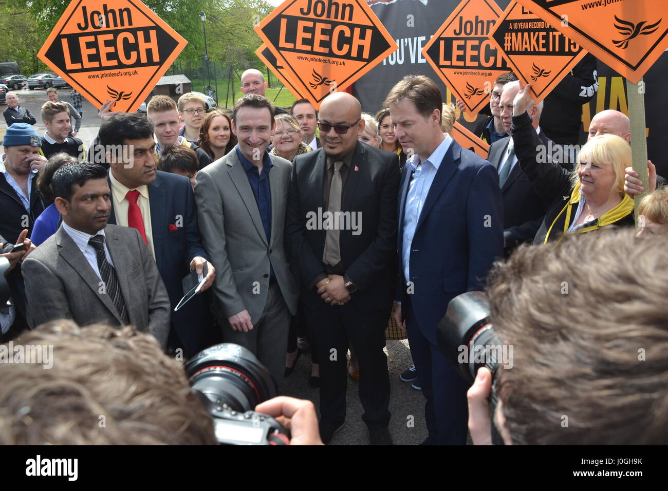 Rt Hon Nick Clegg MP - Deputy Prime Minister & Leader of the Liberal Democrats supports John Leech's re - Stock Image