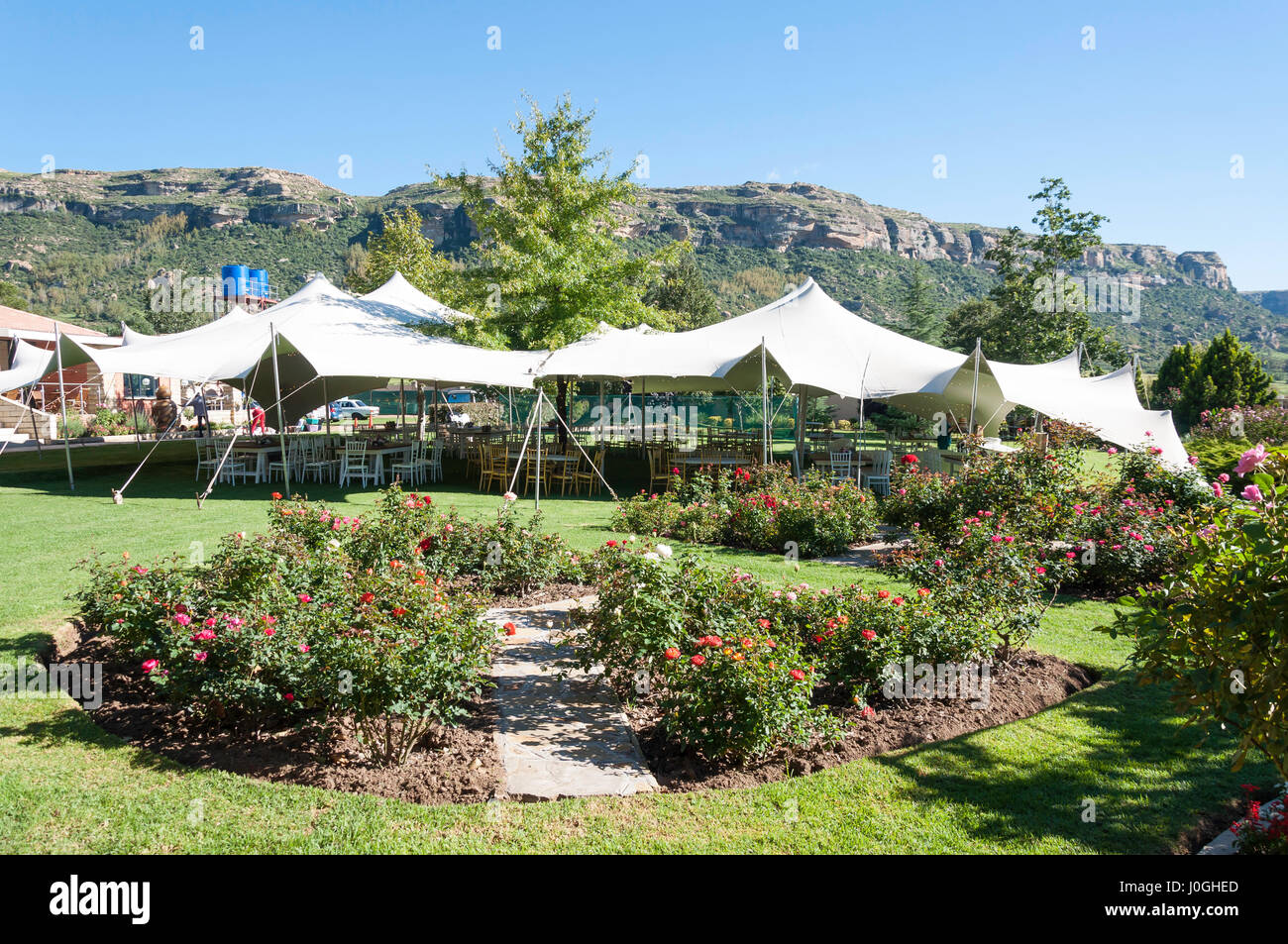 Marquee on lawn in gardens of Botleng Guest House, Ha Makhoathi, Maseru District, Kingdom of Lesotho - Stock Image