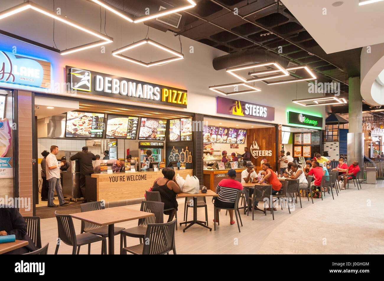 Food Court at Springs Mall Shopping Centre, Casseldale, Springs, East Rand, Gauteng Province, Republic of South - Stock Image