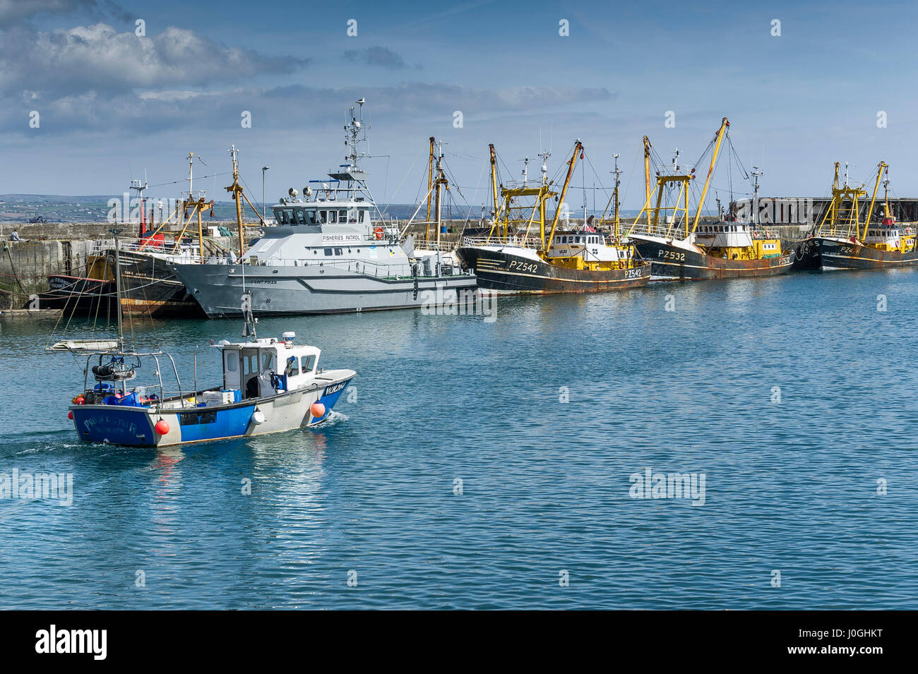 Newlyn Fishing Port WH264 Prospector Harbour Harbor Fishing boat Fishing vessel Fishing boats Fishing vessels Beam - Stock Image