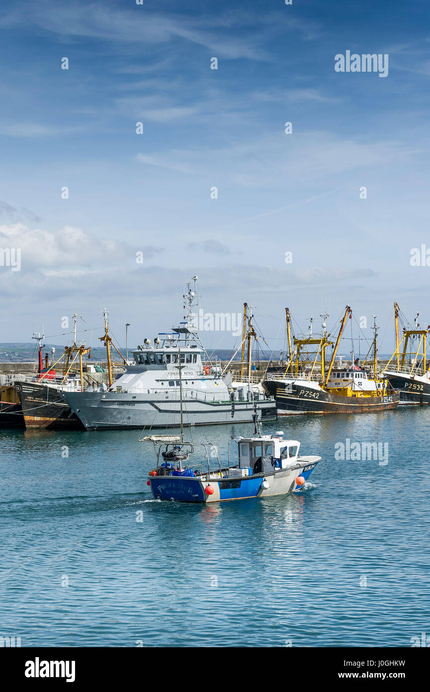 Newlyn; Fishing Port; WH264 Prospector; Harbour; Harbor; Fishing boat; Fishing vessel; Fishing boats; Fishing vessels; - Stock Image