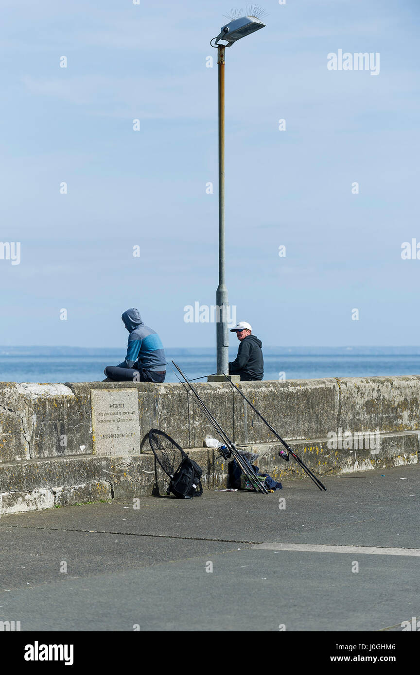 Anglers Fishing Pleasure Angling Hobby Pastime Quayside Newlyn Fishing Port Harbour Harbor; Leisure activity; Cornwall - Stock Image