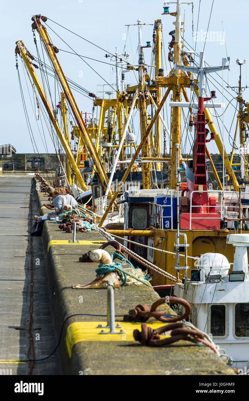 Newlyn Fishing Port Fishing boat Fishing vessel Beam trawler Outrigger booms Rigging Cables Hawsers Fishing fleet - Stock Image