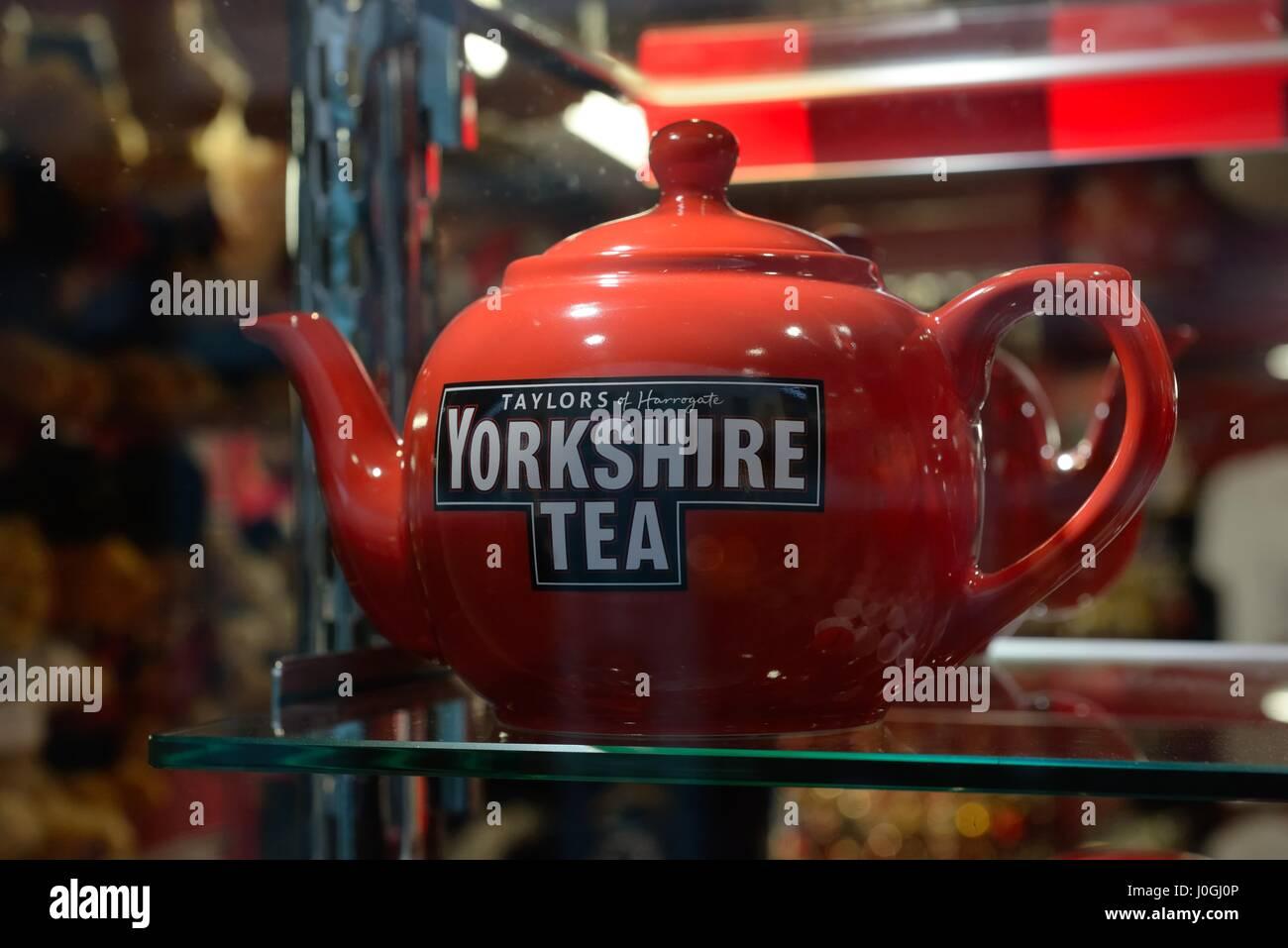 Red 'Taylor's of Harrogate' Yorkshire Tea pot on a shop shelf. - Stock Image