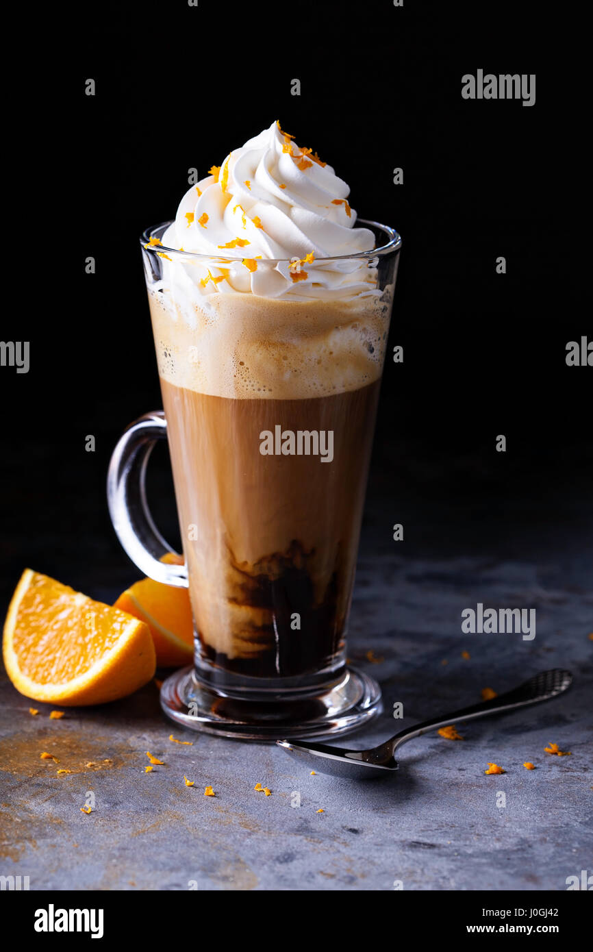 Hot viennese coffee with whipped cream - Stock Image