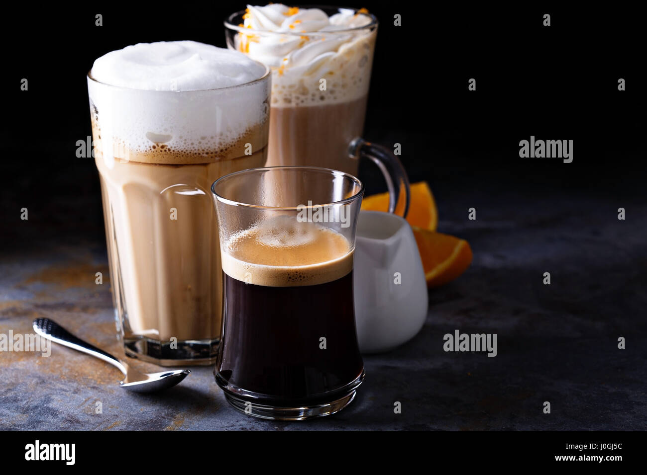 Coffee latte, black espresso and viennese coffee - Stock Image