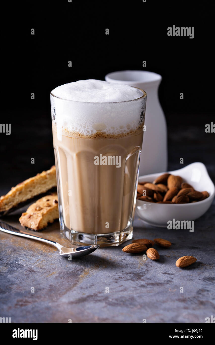 Coffee latte with almond milk - Stock Image
