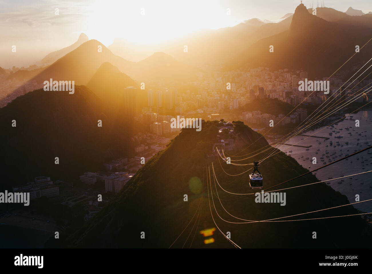 Sunset view from atop sugar loaf in Rio de Janeiro, Brazil Stock Photo