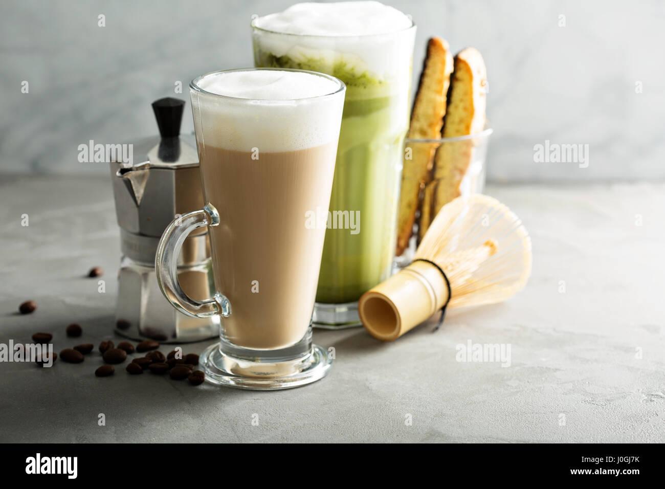Regular coffee and matcha latte - Stock Image