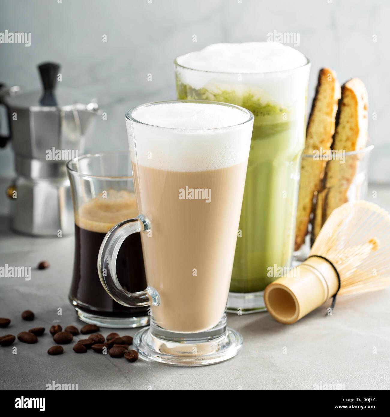 Espresso, regular coffee and matcha latte - Stock Image