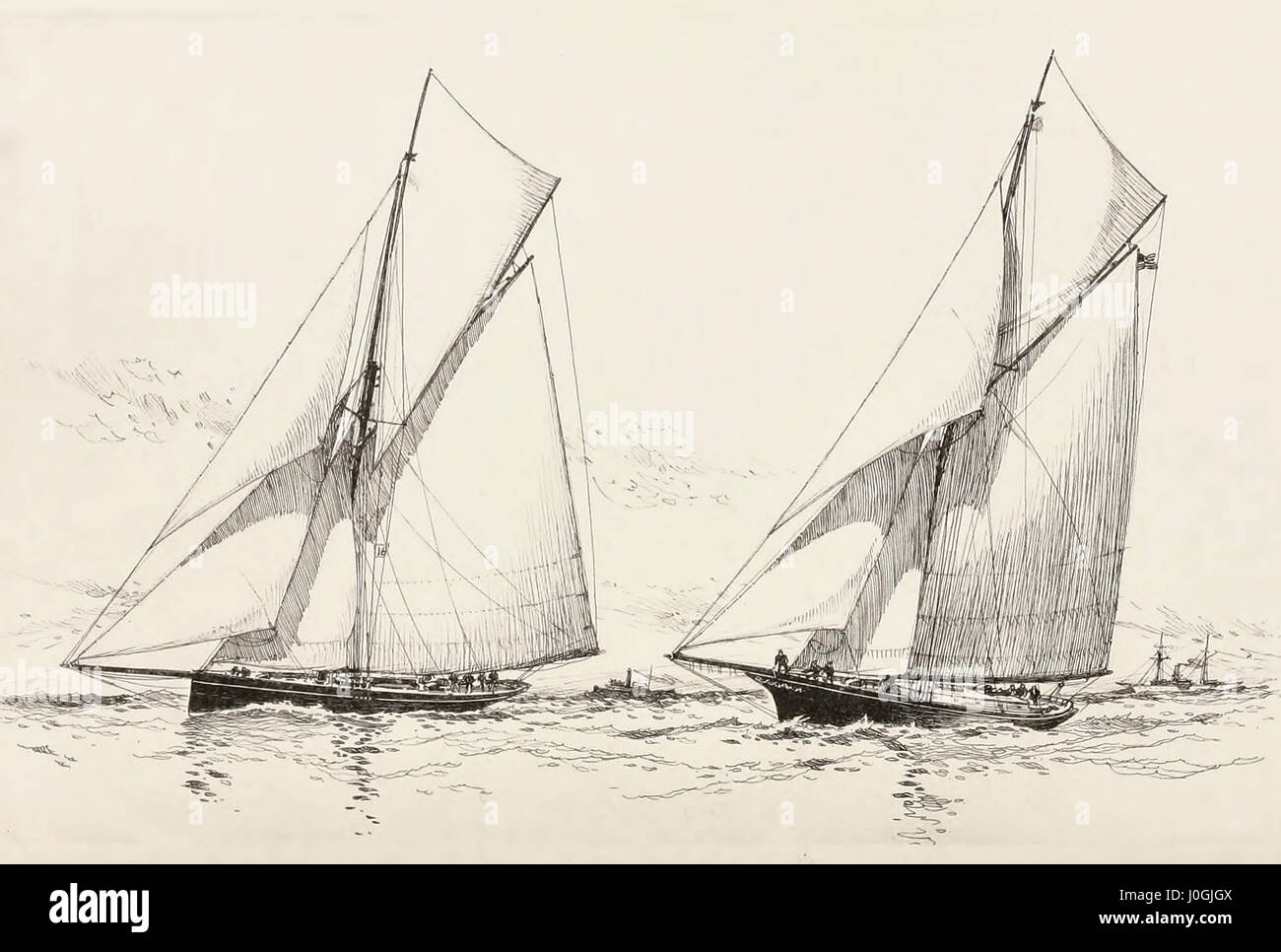 Bedouin (Cutter) and Gracie (Sloop) - Unsuccessful candidates for cup defense honors in 1885 - Stock Image