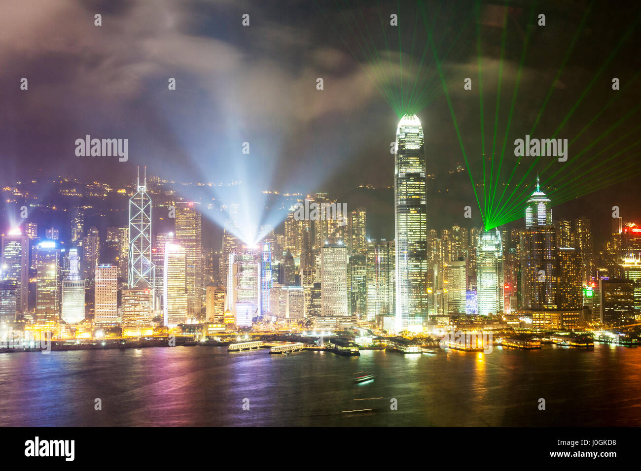 symphony of lights Hong Kong This spectacular multimedia show, combining lights, music and narration involves 19 - Stock Image