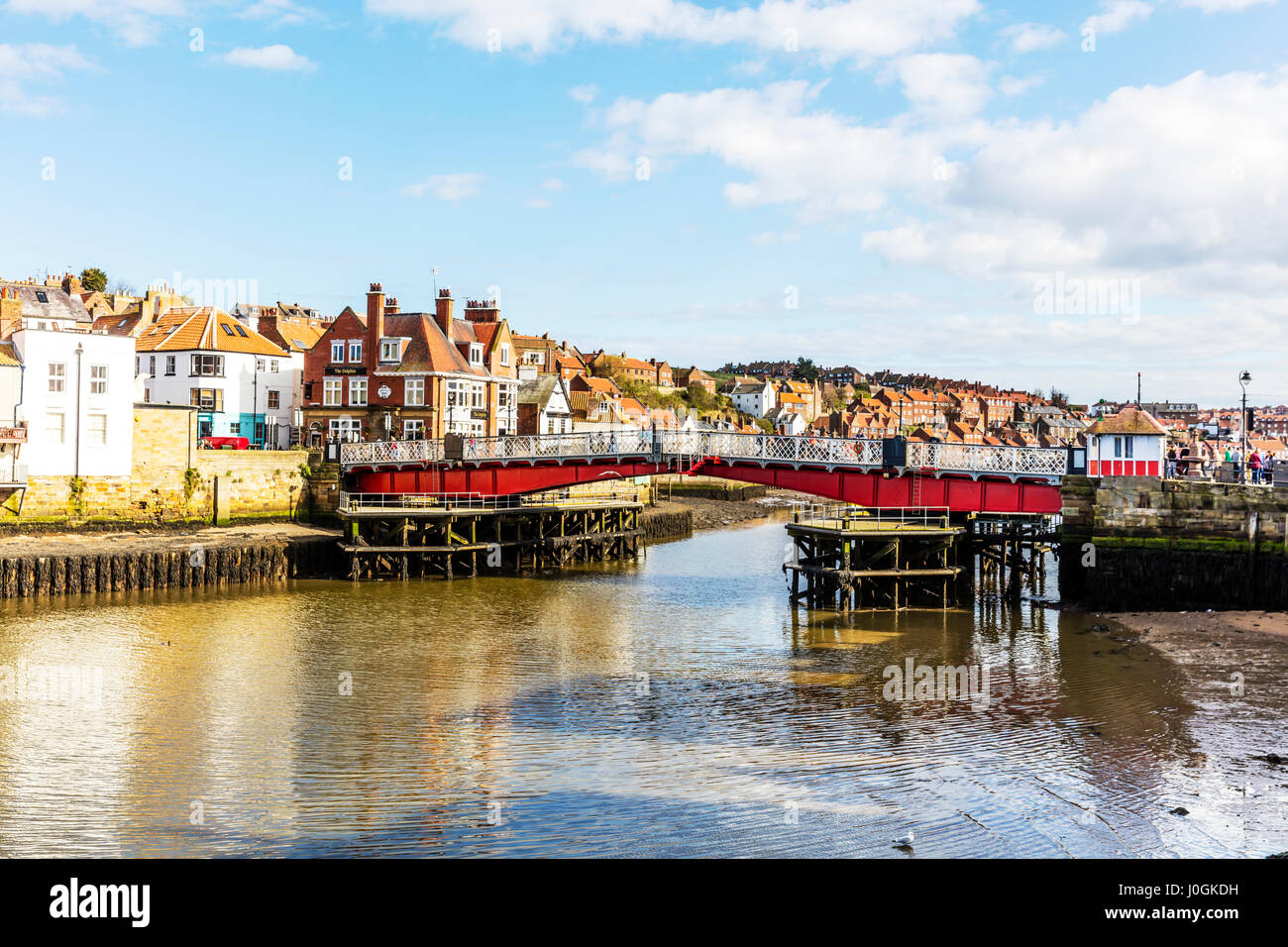 Whitby Swing Bridge is a pedestrian and road bridge over the River Esk in Whitby North Yorkshire UK England swing - Stock Image
