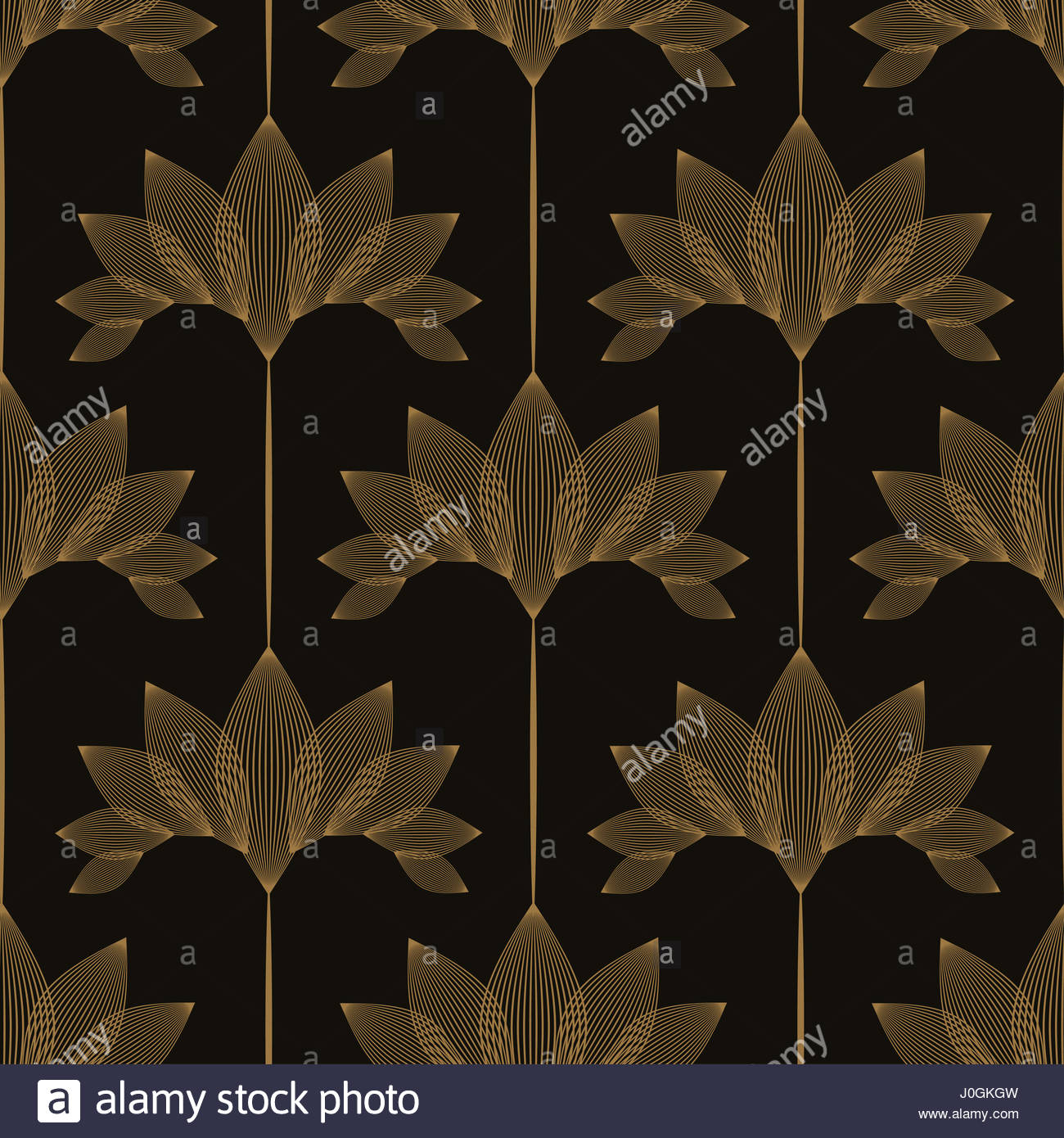 Vintage Style Floral Wallpaper With Lotus Pattern In Black And