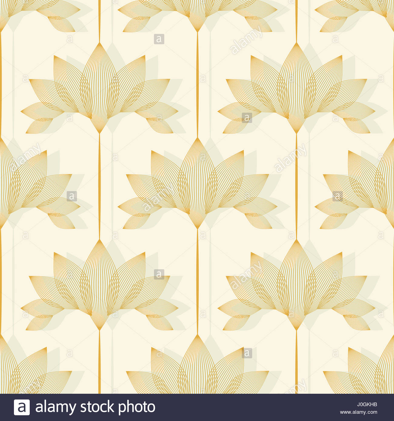 Vintage Style Floral Wallpaper With Lotus Pattern In Ivory