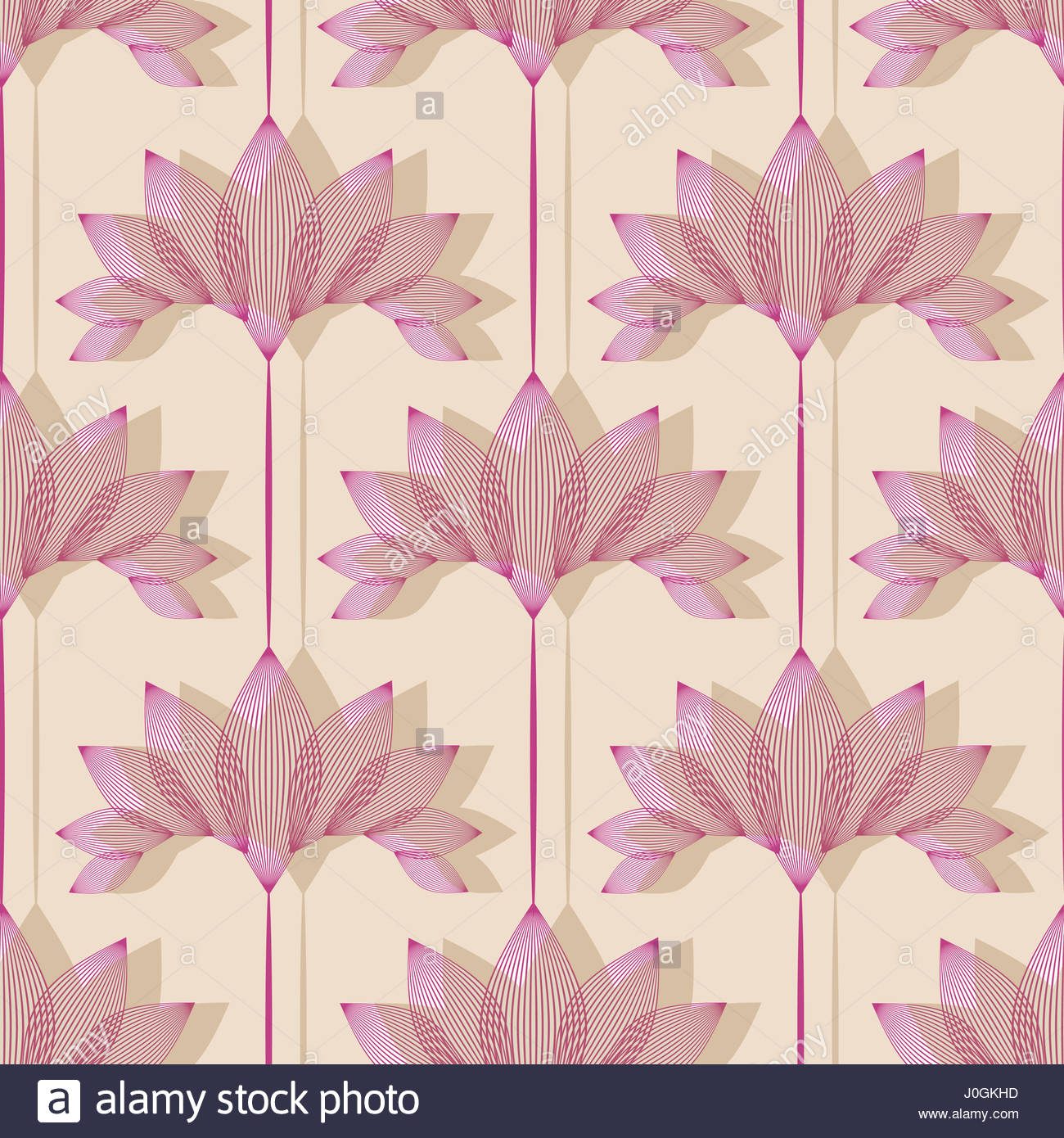 Vintage Style Floral Wallpaper With Lotus Pattern In Ivory And